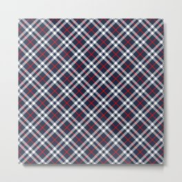 Red White and blue Tartan Metal Print