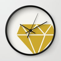 diamond Wall Clocks featuring DIAMOND by Allyson Johnson