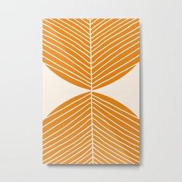 Minimal Fall Leaf Gold Metal Print