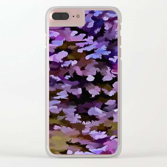 Foliage Abstract In Blue, Pink and Sienna Clear iPhone Case