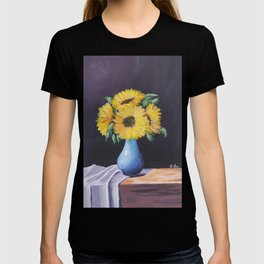 Hand Painted Flower Vase on the Table by AFIFA TANZEEL T-shirt