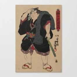 Sumo Wrestler Japanese Woodcut Block Print Canvas Print