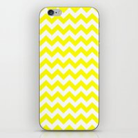 chevron iPhone & iPod Skins featuring Chevron (Yellow/White) by 10813 Apparel