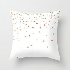Gold & Pink Confetti Throw Pillow