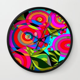 Shapes and Buds Wall Clock