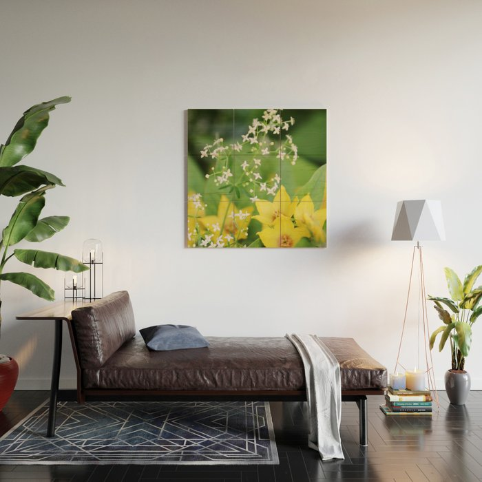 Yellow and white flowers Wood Wall Art