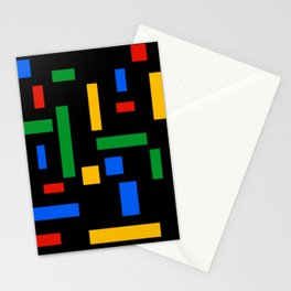 Abstract Google Art Red Green Blue Yellow on Black Stationery Cards