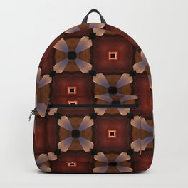Red Square and White Circle Pattern Backpack