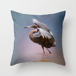 Graceful Reddish Egret Throw Pillow