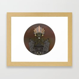 Skeleton Indian and wolves Framed Art Print