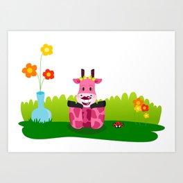 La jirafa Margarita Art Print
