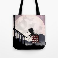 dalek Tote Bags featuring Dalek Kid by Andy Fairhurst Art