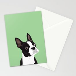 Boston Terrier Portrait - Green Stationery Cards