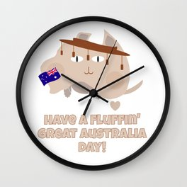 Australia Day Fluffin' Cat and Flag Wall Clock