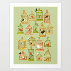 Bird Cages on Green Art Print