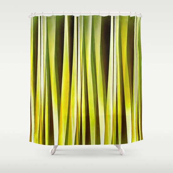 Yellow Ochre And Brown Stripy Lines Pattern Shower Curtain By Taiche
