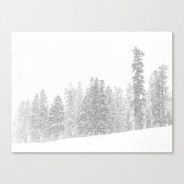 Snowy Slope // Mountain Ski Landscape Photography Black and White Snowboarding Winter Decor Canvas Print