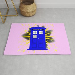 British Police Box With Abstract Explosion Rug