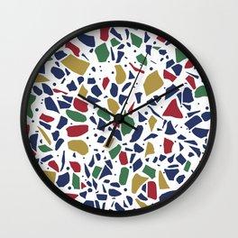 Terrazzo Spot Color on White Wall Clock