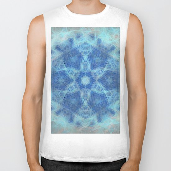 Wispy fairy kaleidoscope in blue Biker Tank