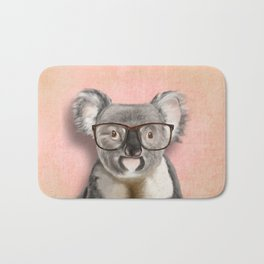 Funny koala with glasses Bath Mat