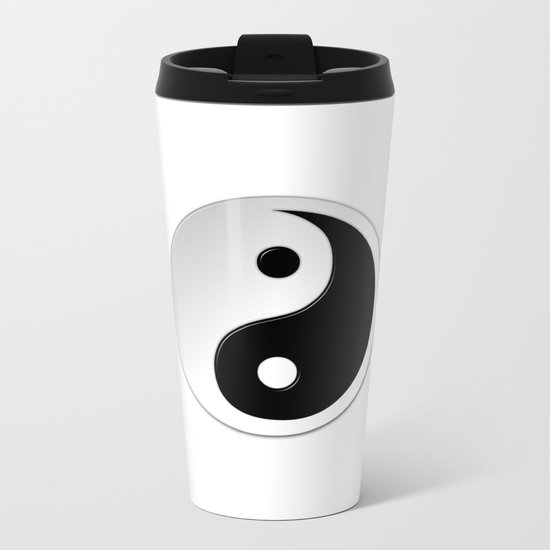 Yin Yang Symbol Metal Travel Mug