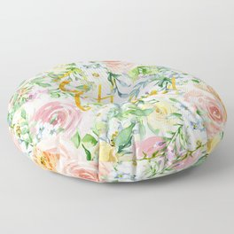 "Oh la la "" Fashionable Watercollor Floral Pattern Floor Pillow"