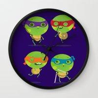 turtles Wall Clocks featuring Turtles by Maria Jose Da Luz