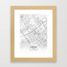 Laval, Canada - Light Map Framed Art Print