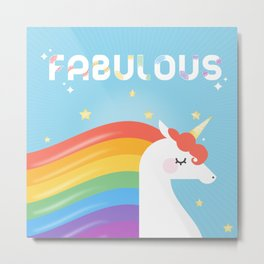 Fabulous Sparkling Rainbow Unicorn Metal Print