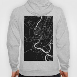 Bangkok Thailand Minimal Street Map - Midnight Black and White Hoody