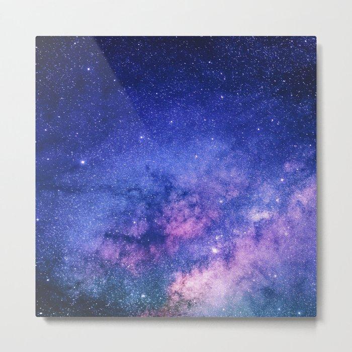 Blue Purple Night Sky, Universe, Galaxy Metal Print