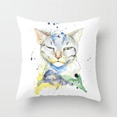 Suspicious Cat Throw Pillow