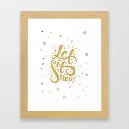 Let It Snow Gold Glitter Christmas Typography Framed Art Print