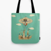 pirates Tote Bags featuring sky pirates by bri.buckley
