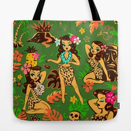 Tiki Temptress on Green Tote Bag