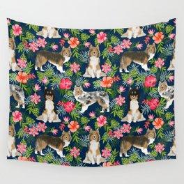 Sheltie shetland sheepdog hawaii floral hibiscus flowers pattern dog breed pet friendly Wall Tapestry