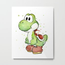 Yoshi Watercolor Mario Metal Print