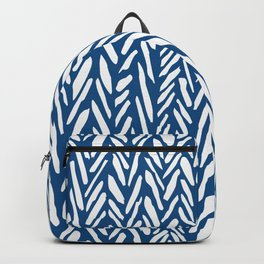 Boho herringbone mudcloth pattern - navy blue Backpack
