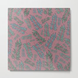 Pink, blue and green leaf pattern Metal Print