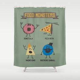 Food Monsters Shower Curtain