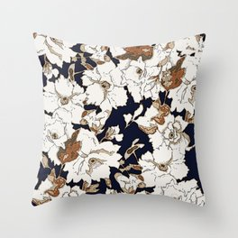 Navy, Rust, White Woodcut Peony Floral Print Throw Pillow