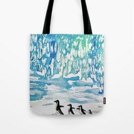 Penguin Family on Thin Ice Tote Bag
