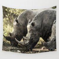 rhino Wall Tapestries featuring Rhino by Rebeca Anafe