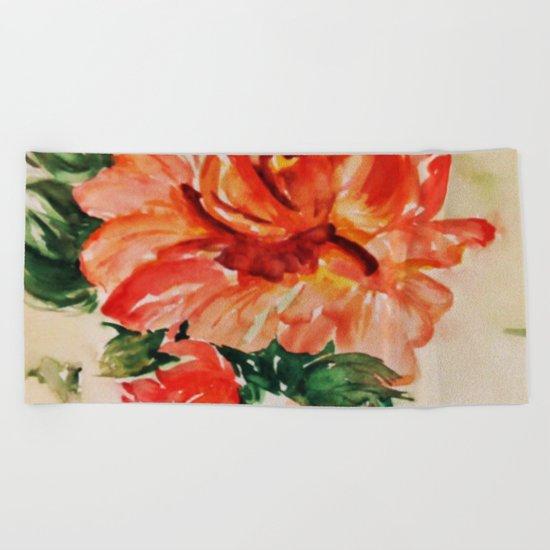 red rose japanese art Beach Towel