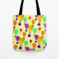 hot air balloons Tote Bags featuring Hot Air Balloons (Yellow) by Ingrid Castile