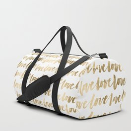 Gold Love Quote Pattern Typography Script 3 Duffle Bag