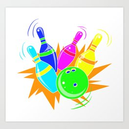 Neon Vintage Retro Strike Bowling. - Gift Art Print