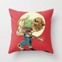 scott pilgrim Throw Pillows featuring Cat Pilgrim Versus The Litterbox of the World! by RHOB Designs