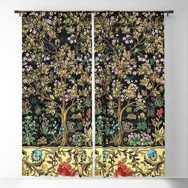 William Morris Northern Garden with Daffodils, Dogwood, & Calla Lily Floral Textile Print Blackout Curtain